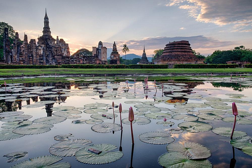Site historique de Sukhotaï, à l'ouest de la Thaïlande.