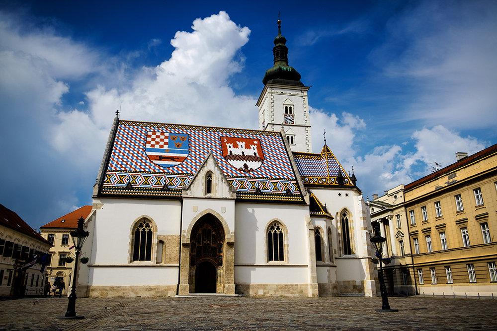 Église colorée du centre-ville de Zagreb, la capitale croate.