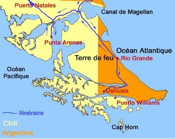 L'île est séparée presque à moitié entre le Chili et l'Argentine.