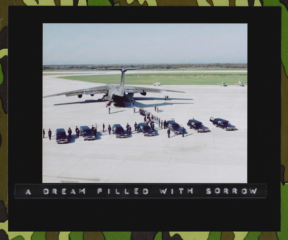 The Space Shuttle Challenger crewmember remains are transferred from 7 hearse vehicles to a MAC C-141 transport plane at the Kennedy Space Center's Shuttle Landing Facility for transport to Dover Air Force Base, Delaware. The STS-51L crew consisted of: Pilot, Mike Smith; Commander, Dick Scobee; Mission Specialist, Ron McNair; Mission Specialist, Ellison S. Onizuka; Payload Specialist, Greg Jarvis; Mission Specialist, Judy Resnik; and Teacher in Space Participant Sharon Christa McAuliffe. 30 August 1988. (Source: NASA JSC Digital Image Collection)