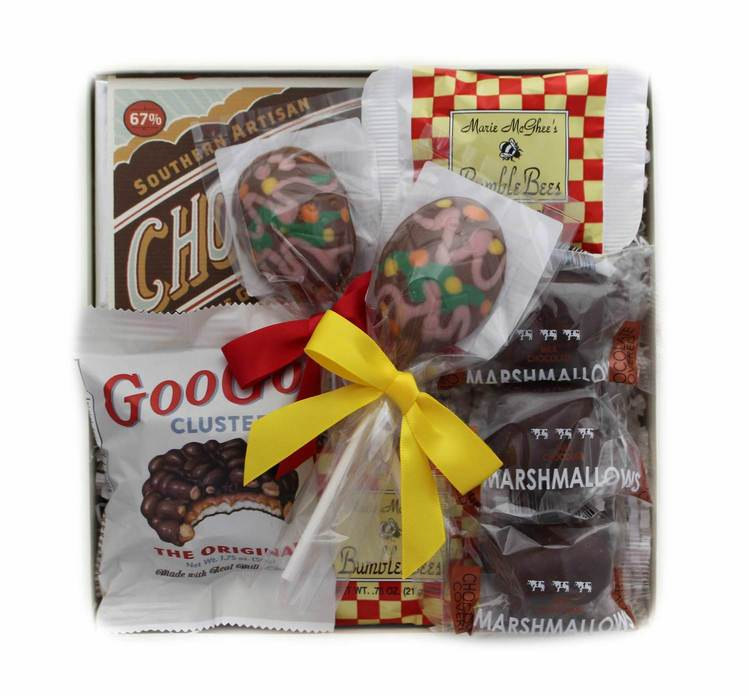 Easter baskets with a grown up twist high note gifts if the chocolate is the best part of their easter basket why not give them a box full of chocolate theyll swoon over these southern artisan chocolates negle Image collections