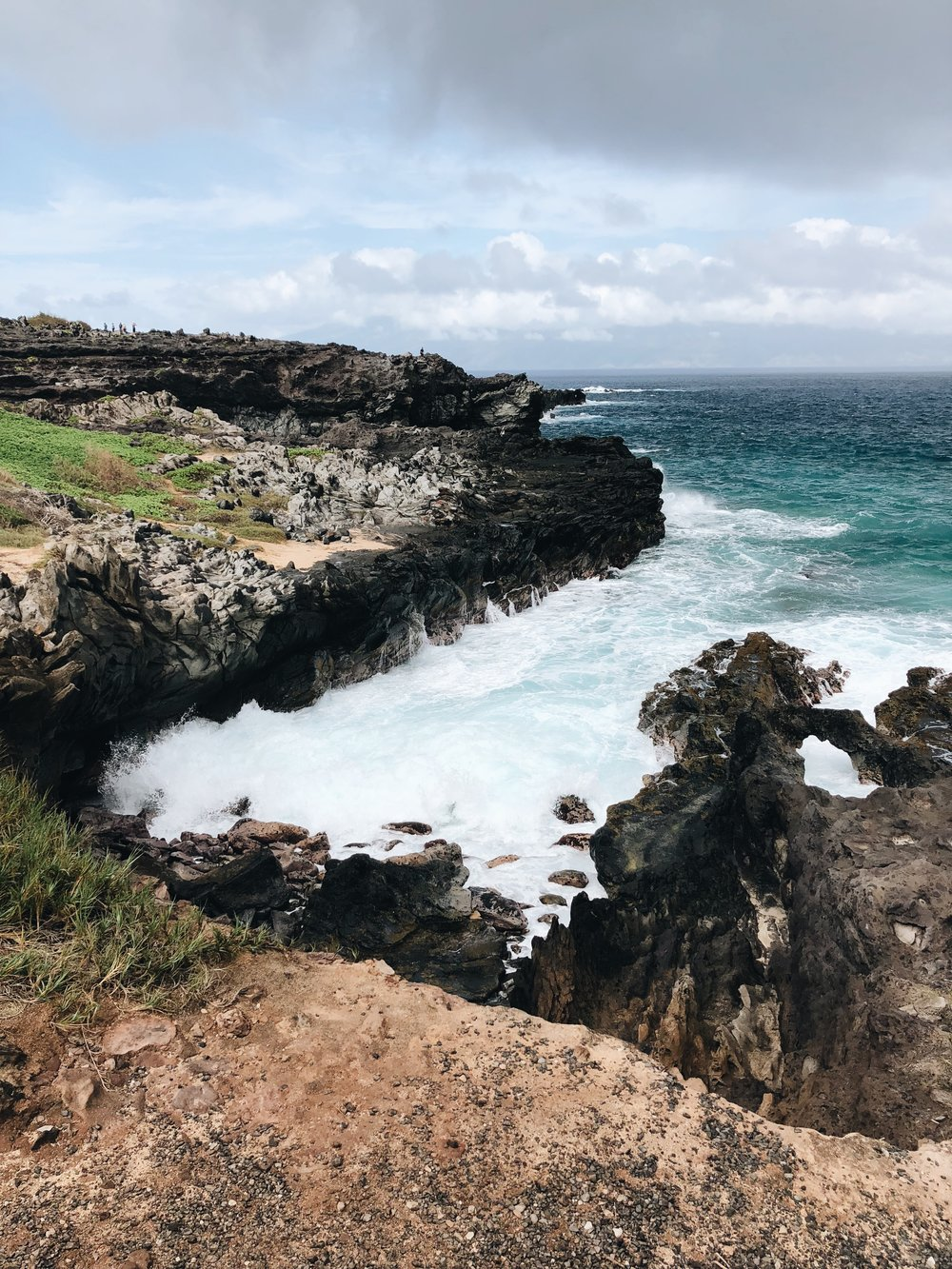 Walking along the Kapalua Coastal Trail to Makaluapuna Point (Dragon's Teeth)