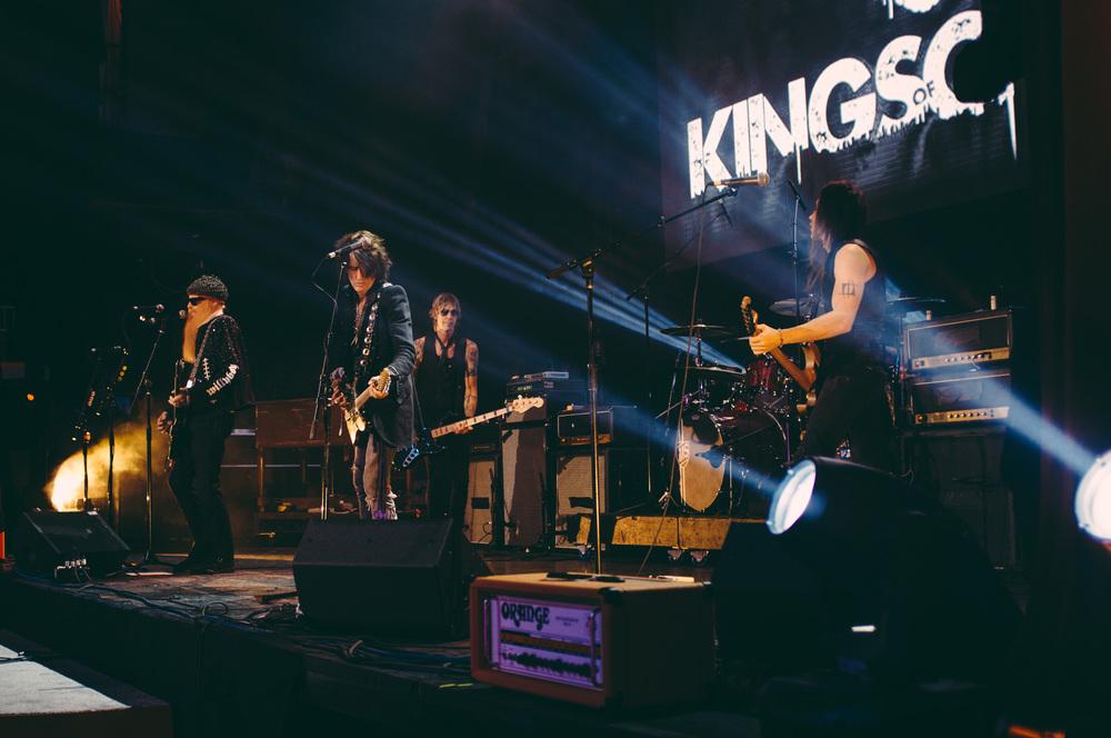 Supergroup Kings Of Chaos, inc Billy Gibbons, Duff McKagan, Joe Perry, Matt Sorum and Nuno Bettencourt, amongst others.