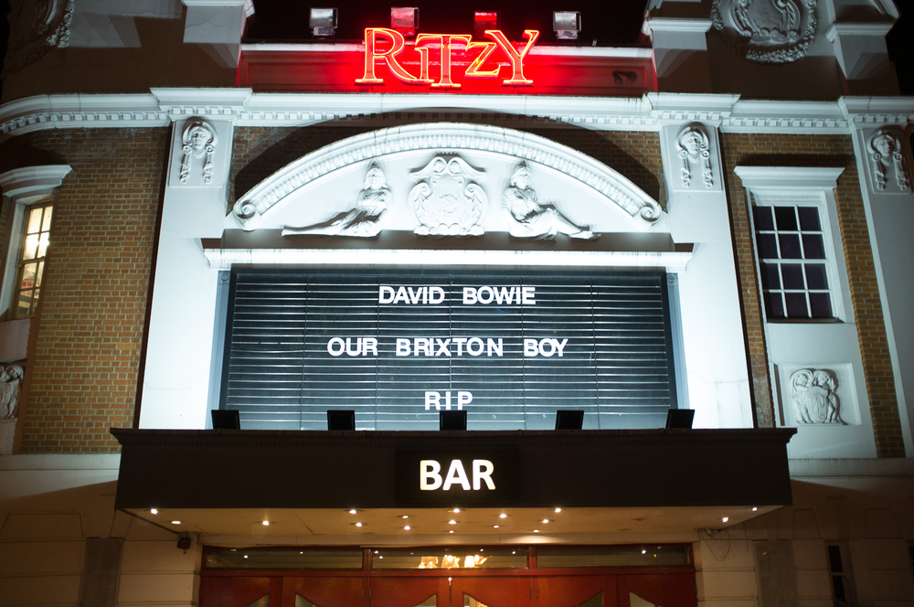 Ritzy Bar/Cinema proudly acknowledges Bowie as one of their own - Beckenham was too slow!
