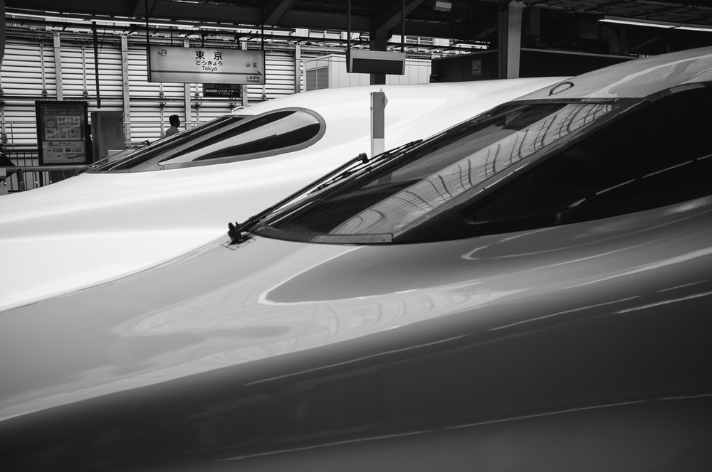 Shinkansen: two abreast.