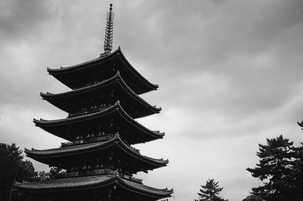 Kofukuji Temple, Nara. Japans second hightest Pagoda. May well have been destroyed after lightning, earthquake or typhoon?