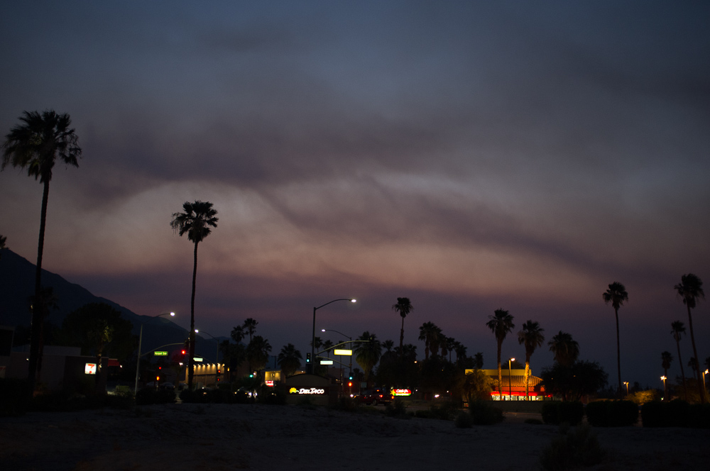 dusty sunset in Palm Springs