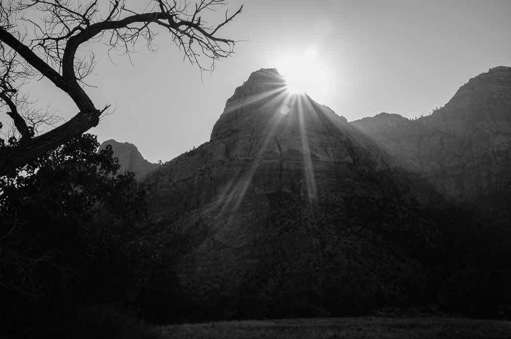 Sun breaks over 'the Watchman' at Zion NP