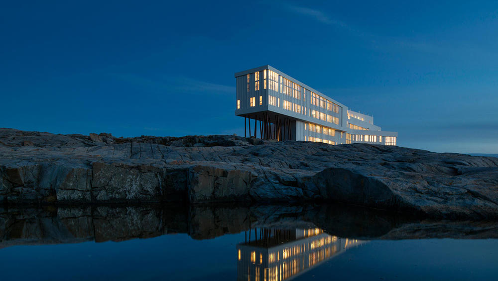 Fogo Island Inn after sunset