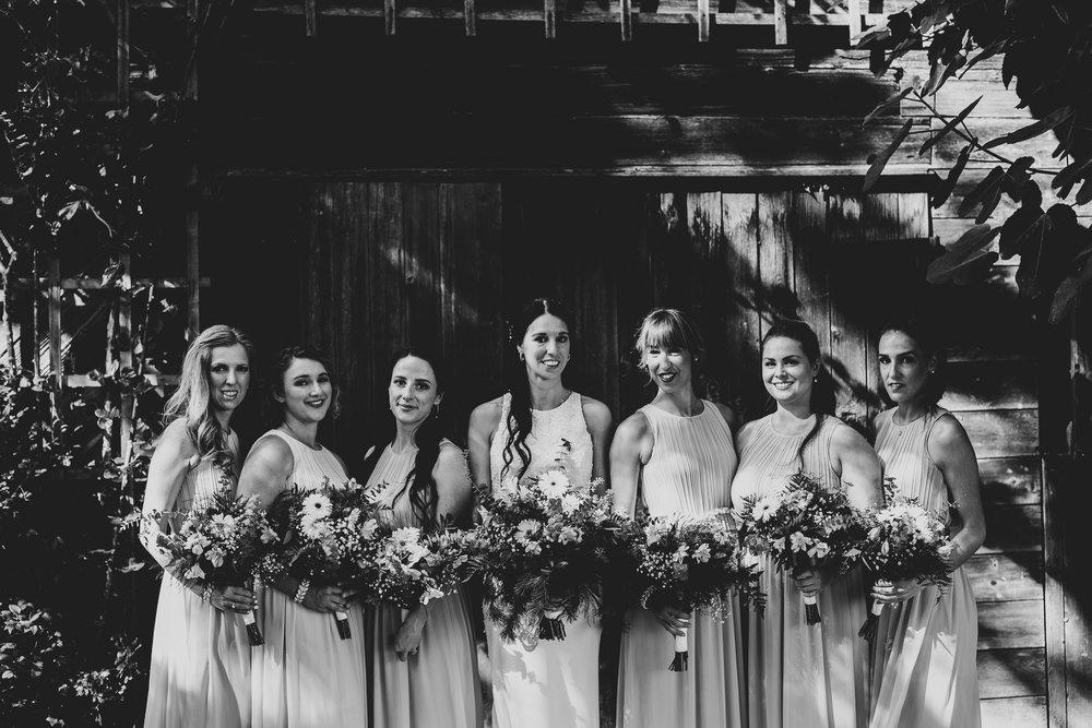 Bridesmaids black and white portrait at vineyard wedding near Victoria BC