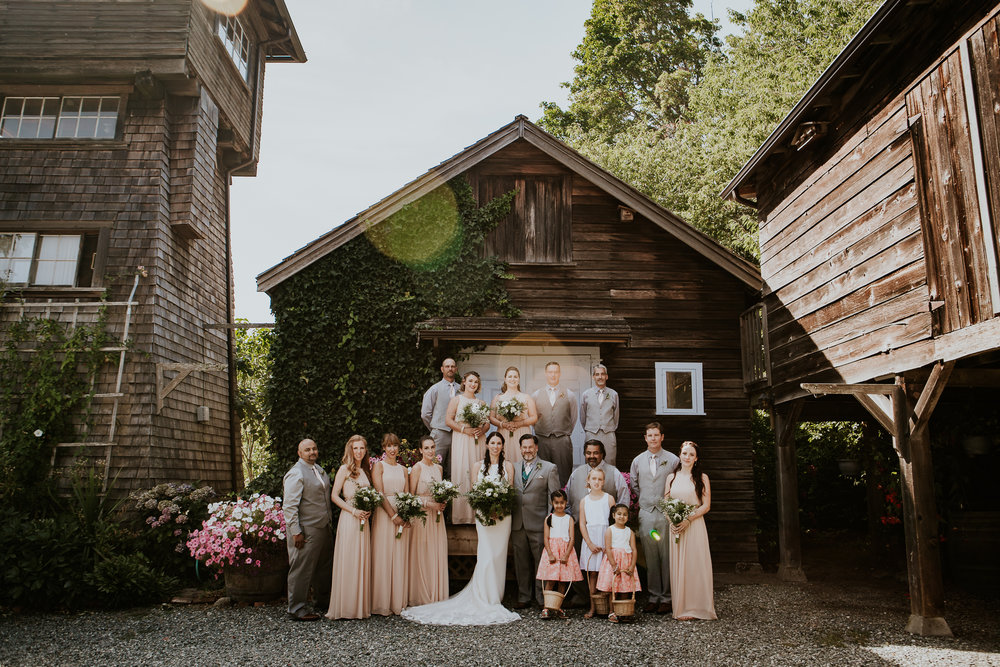 Bridal party photos at Starling Lane winery vineyard wedding Vancouver Island