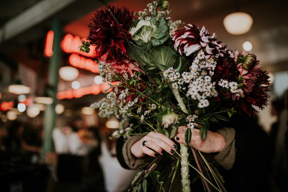 Fresh flower bridal bouquet at Seattle Public Market