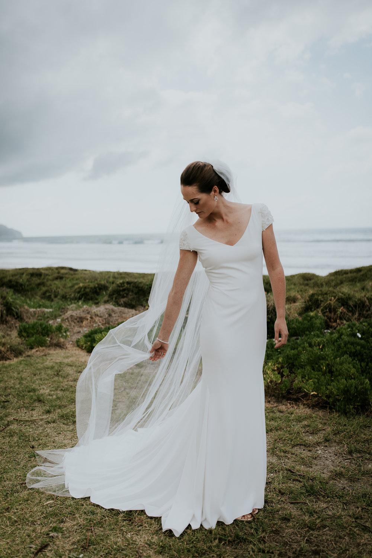 New Zealand bridal portrait on Katikati beach before wedding ceremony