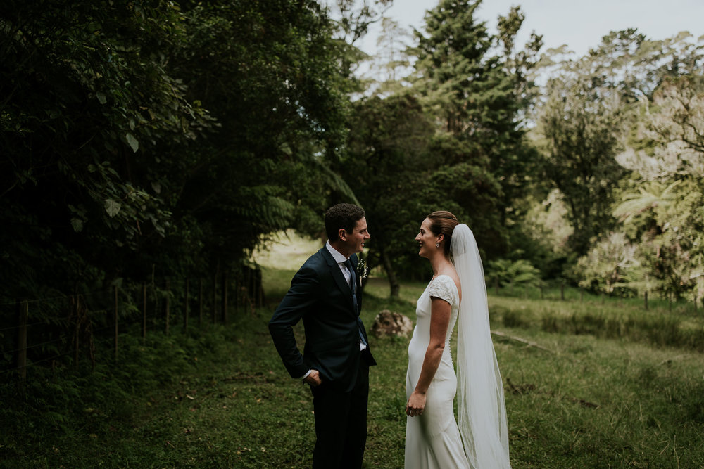 Bride and groom seeing each other for the first time during first look in New Zealand