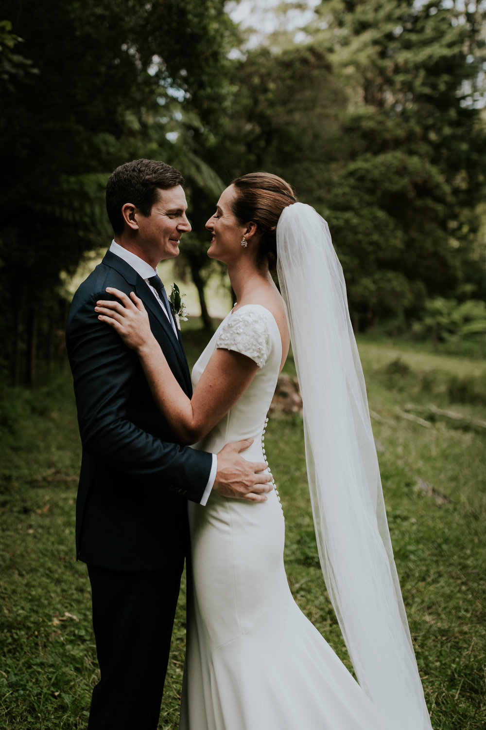 Portrait of bride and groom during wedding day in New Zealand