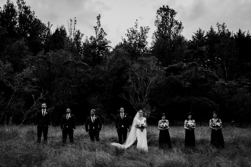Black and white bridal party group photo