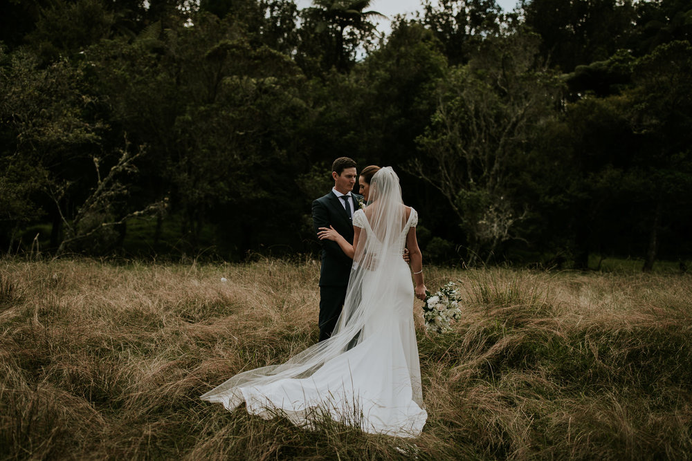 New Zealand bride and groom adventurous wedding portrait