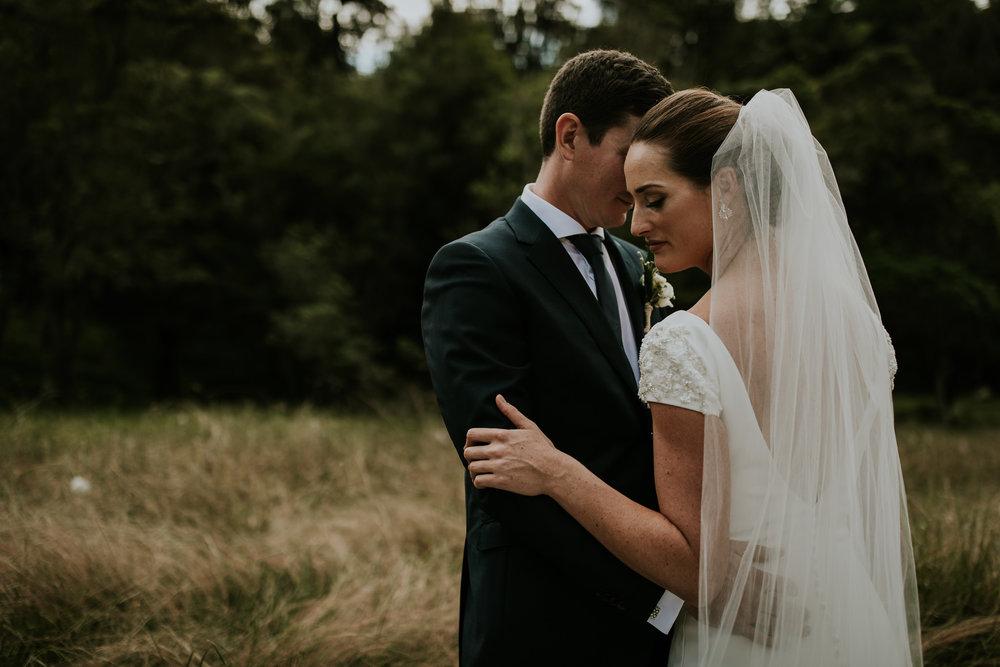 New Zealand bride and groom adventurous wedding portrait close up