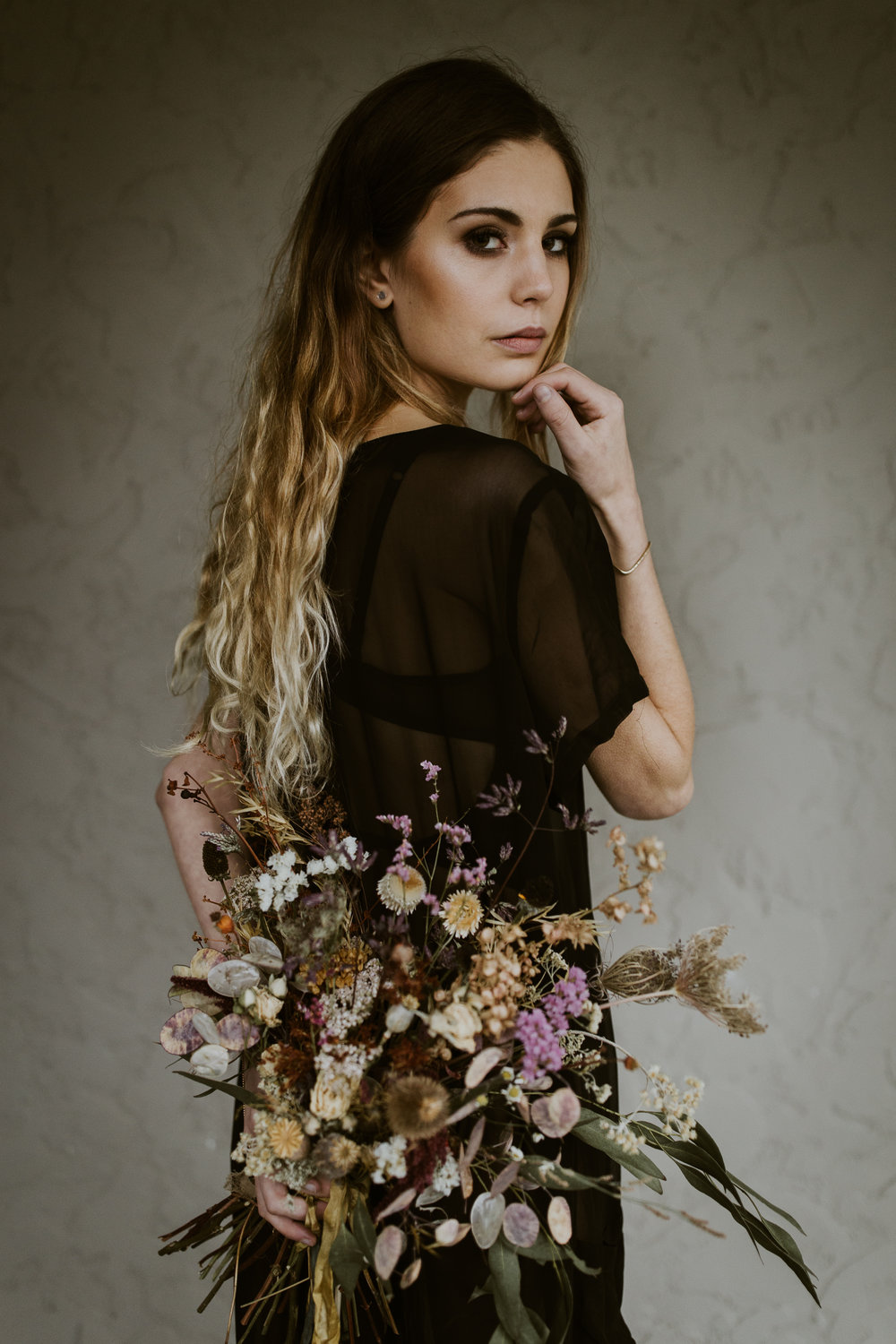 Moody floral bridal photoshoot in Victoria BC