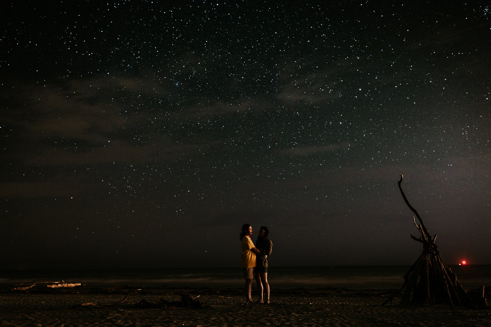 New Zealand couple embracing under the stars on South Island beach before destination wedding