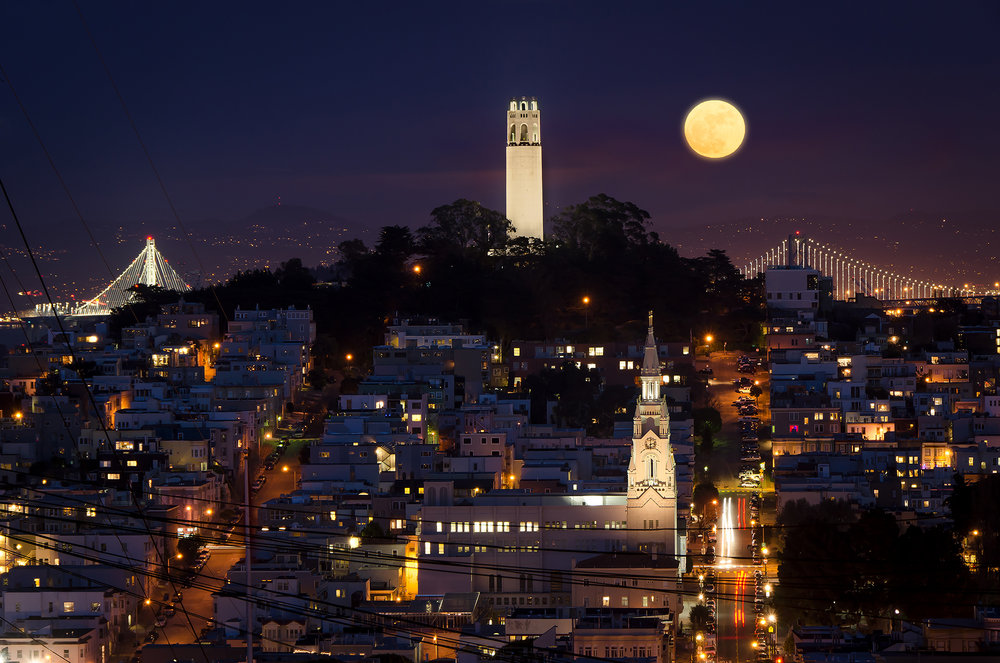 Moonrise Over Telegraph Hill