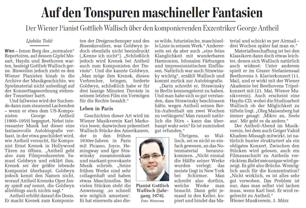 Wallisch über Antheil im Interview (Der Standard)