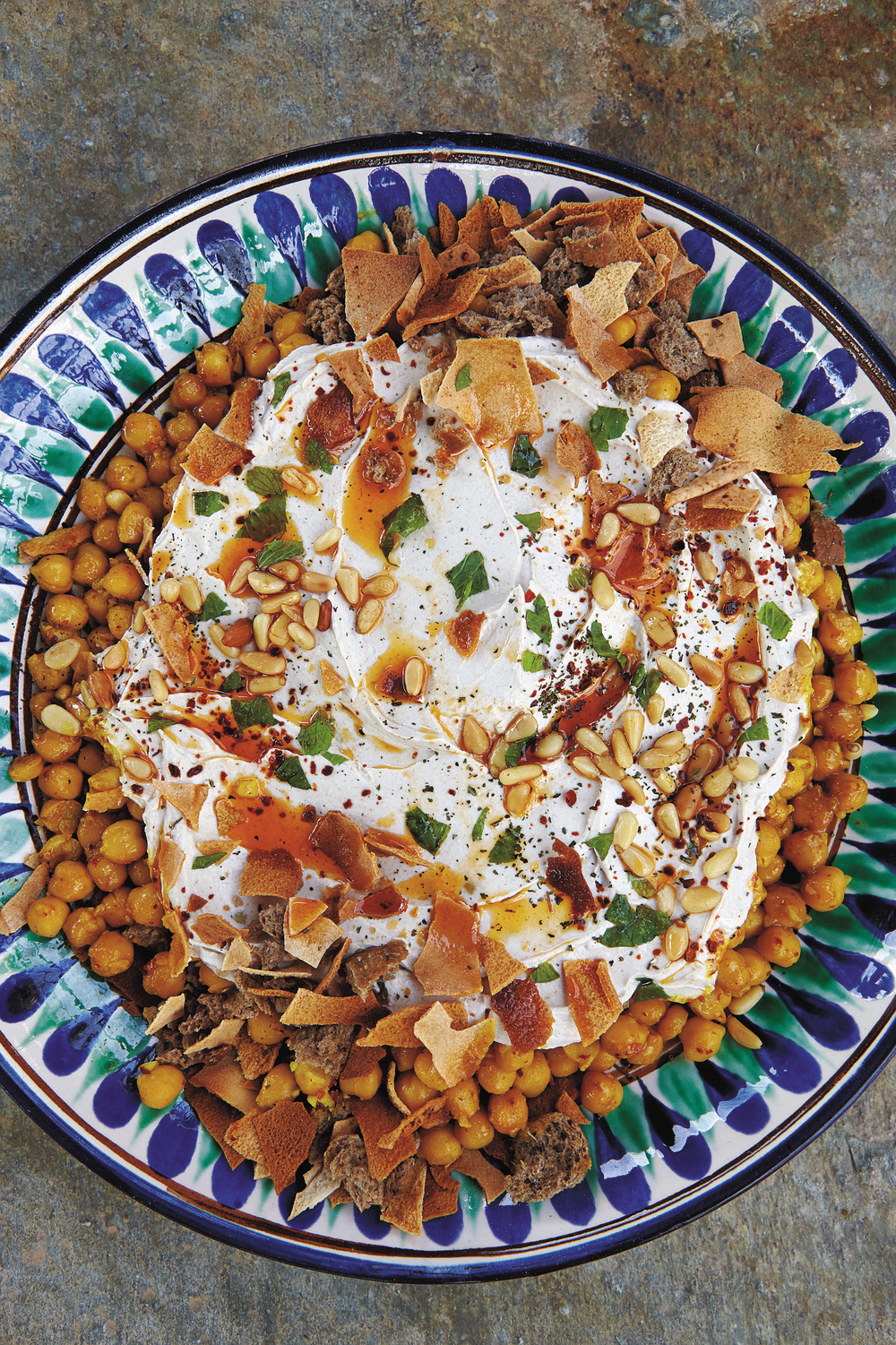 Aglaia's Chickpeas and Toasted Bread with Yogurt-Tahini Sauce (Fattet Hummus)