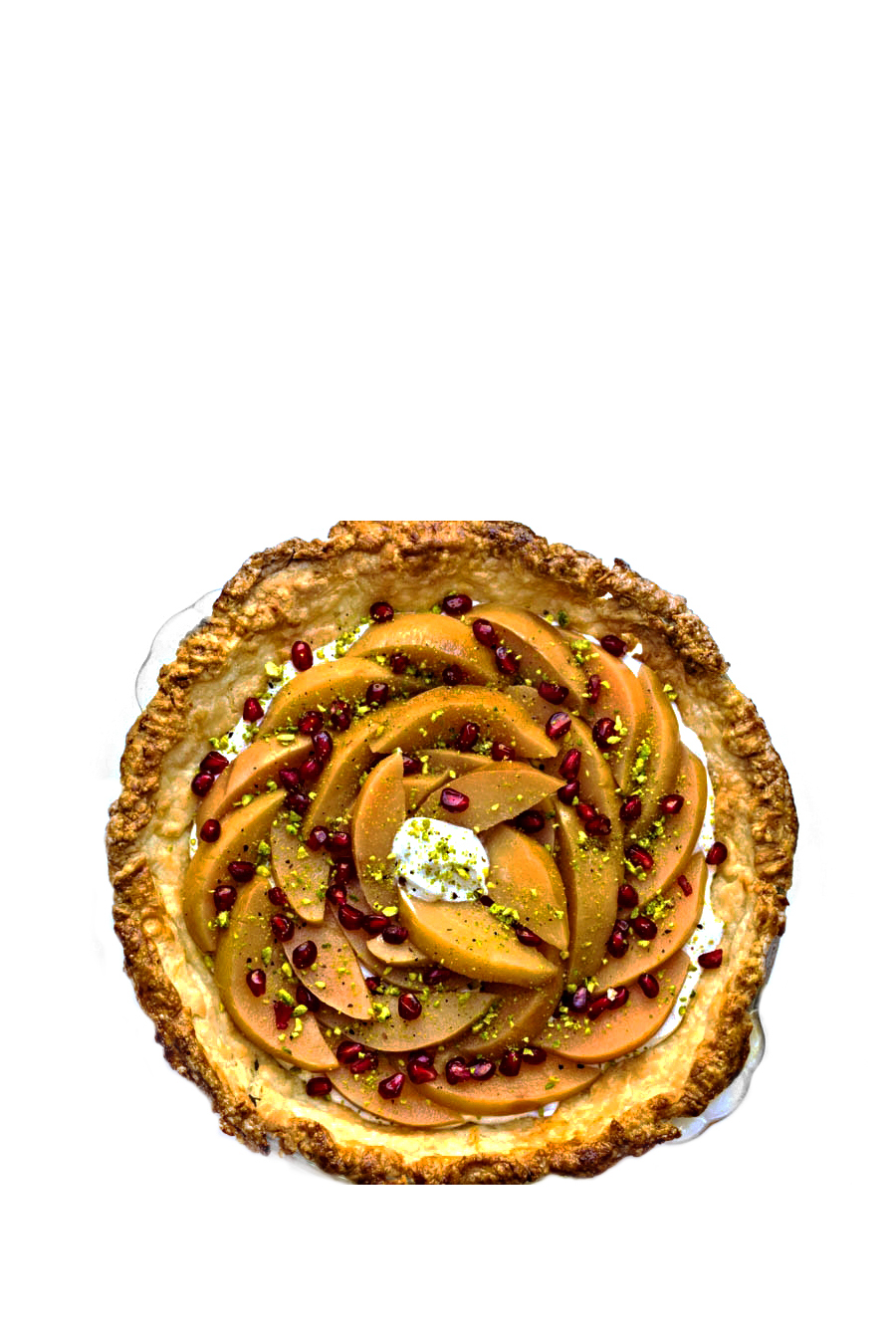 Poached rosewater-scented quince and creamy labneh pair up in Naz Deravian's elegant fall pie.
