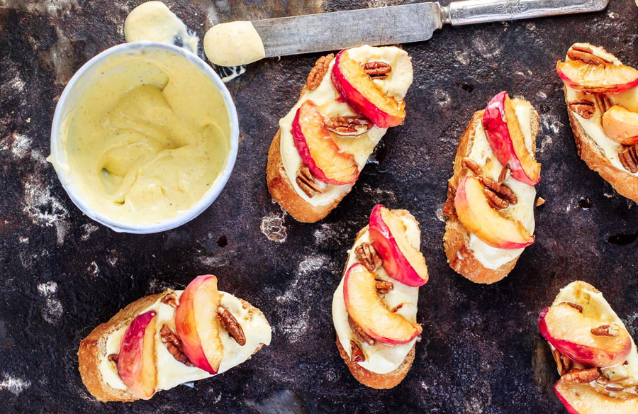 Suzy's Roasted Peaches and Orange Whipped Greek Yogurt Crostini