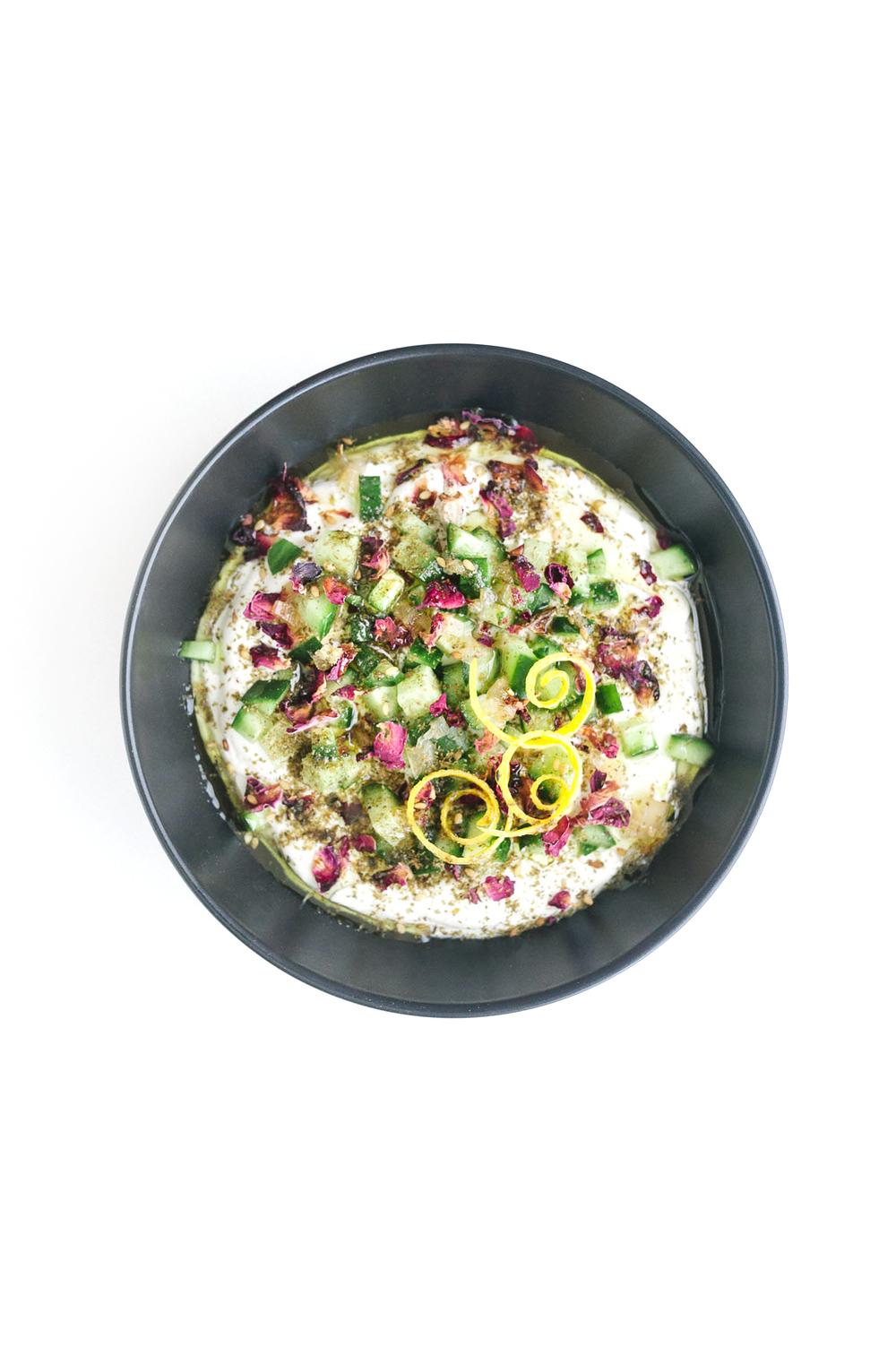 Persian Yogurt Bowl | Labneh + Cucumbers + Rose + Za'atar + Preserved Lemon + Olive Oil