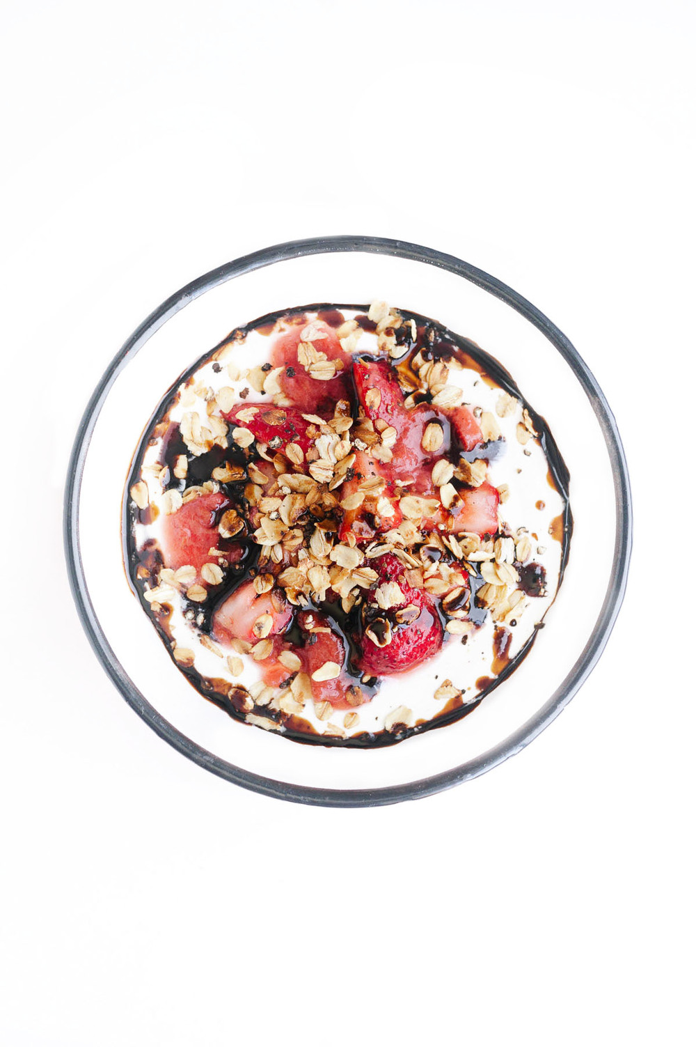 Strawberry Black Pepper Yogurt Bowl | Fresh strawberries + Strawberry Rhubarb Compote + Cracked Black Pepper + Buttered Oats + Balsamic