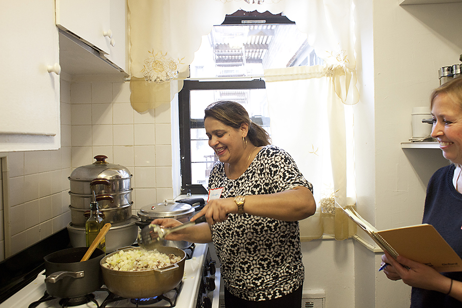 Culinary Instructor Nawida Saidhosin Teaching Afghan Cooking through The League of Kitchens in Queens, New York (also pictured: Liz Tarpy)