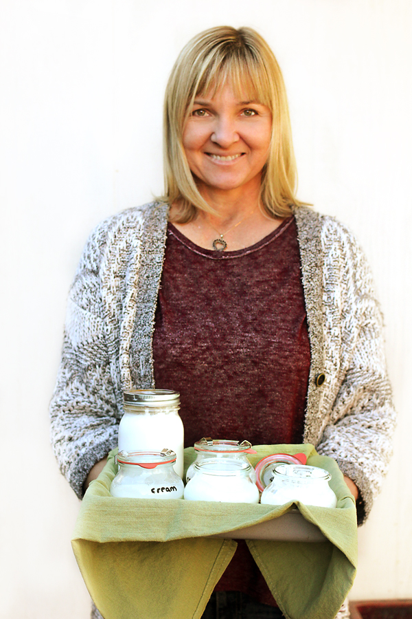 Culinary whiz Sheri Codiana with her experimental batches of homemade yogurt.
