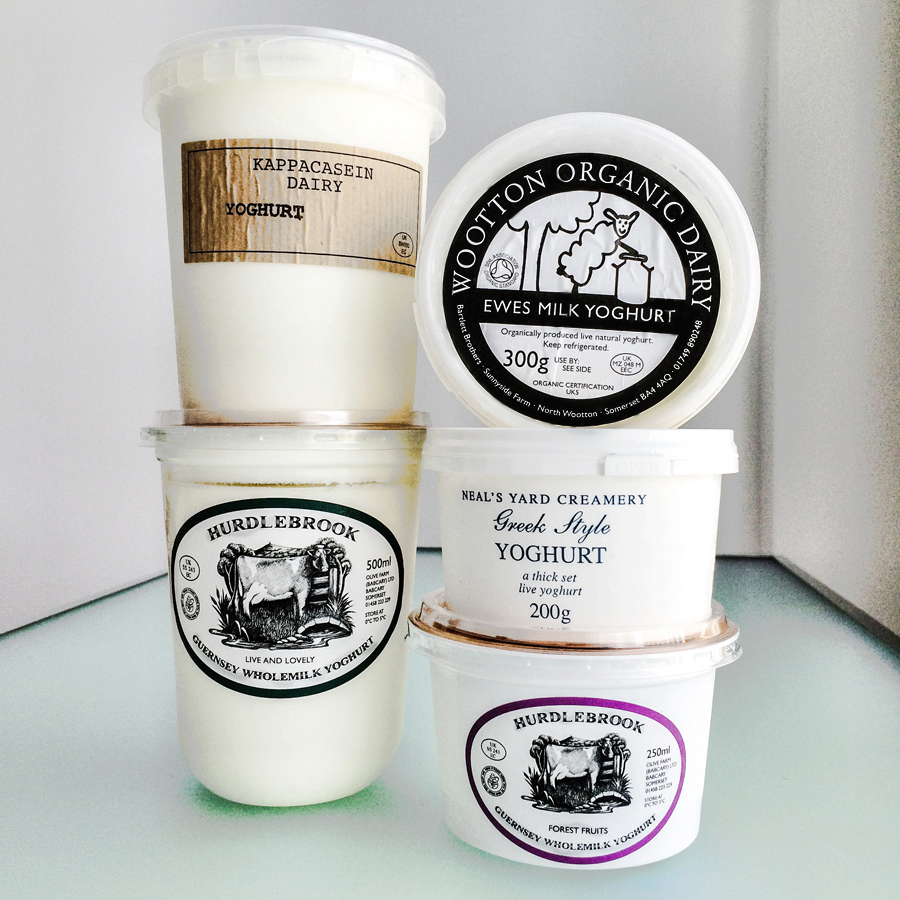 An assortment of British yogurts from Neal's Yard Dairy in Covent Garden, London.