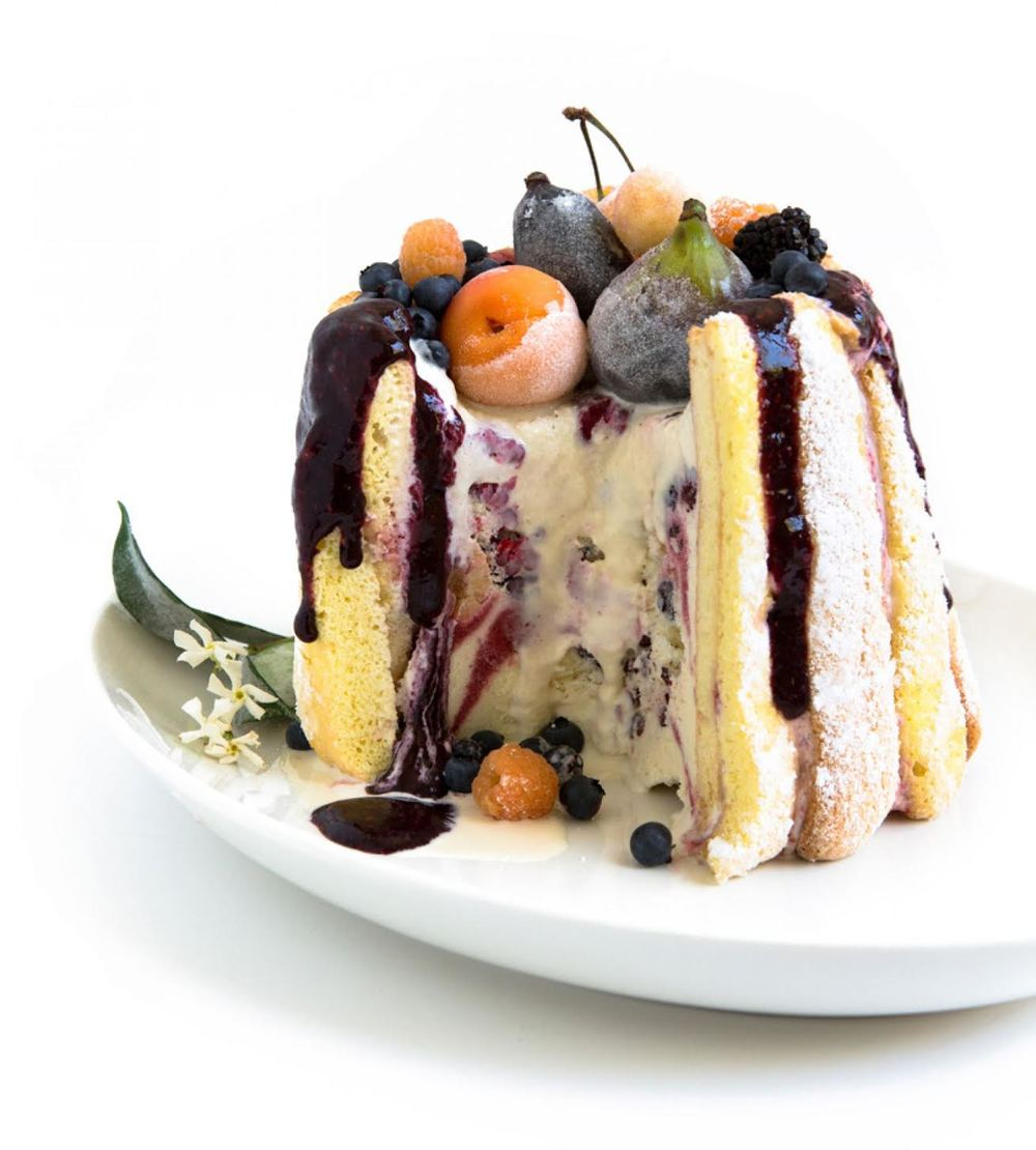 Ice cream cake with vanilla yogurt ice cream, fresh fruit, and ladyfingers | Photograph by Aya Brackett
