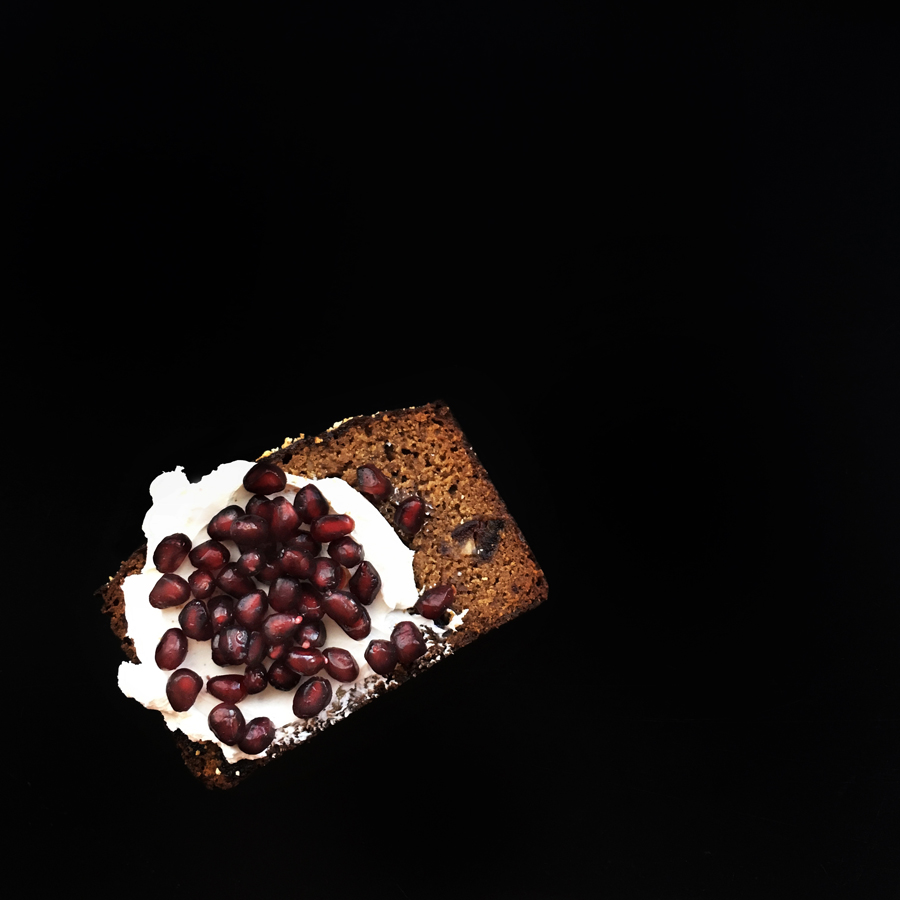 Date Nut Quickbread with labneh and pomegranate | Photograph © Cheryl Sternman Rule for  http://www.teamyogurt.com/