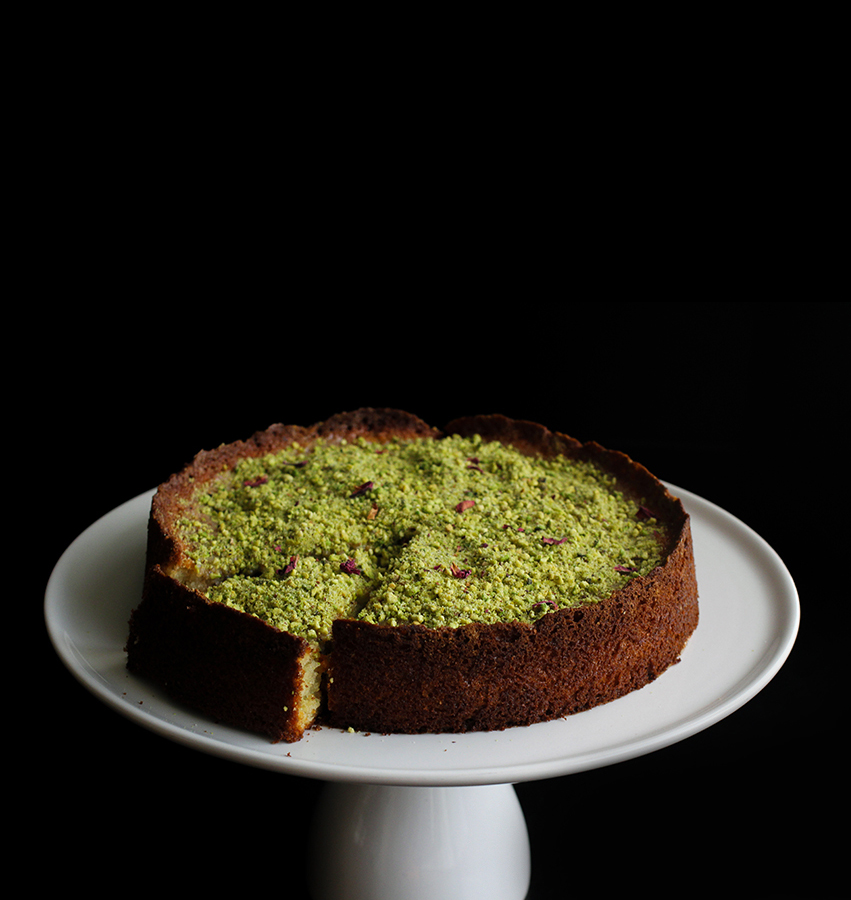 Sour Cherry Yogurt Cake with Pistachio-Cardamom Crush | http://www.teamyogurt.com/ #valentinesday