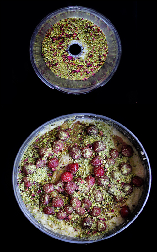Sour Cherry Yogurt Cake with Pistachio-Cardamom Crush | http://www.teamyogurt.com/