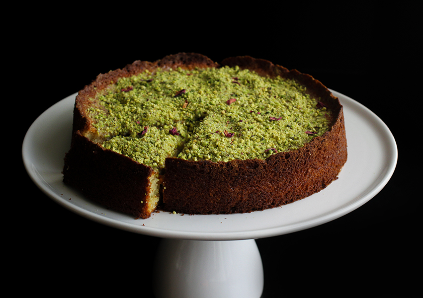 Sour Cherry Yogurt Cake with Pistachio Cardamom Crush