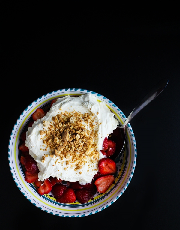Macerated Strawberries with Yogurt Whipped Cream and Amaretti Crush