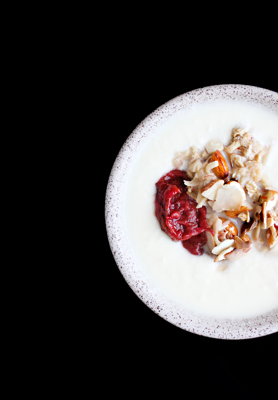 Yogurt with Toasted Almonds, Muesli, and Strawberry Rhubarb Compote | http://www.teamyogurt.com/