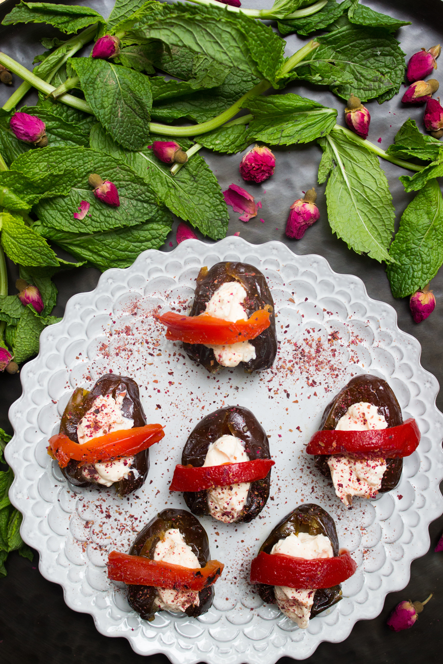 Naz Deravian's Harissa Yogurt Stuffed Dates | http://www.teamyogurt.com/