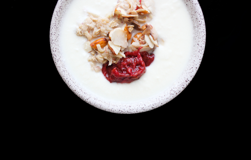 Yogurt with Toasted Almonds, Muesli, and Strawberry-Rhubarb Compote