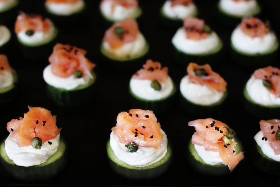 Cucumber Bites with Greek Yogurt and Lox
