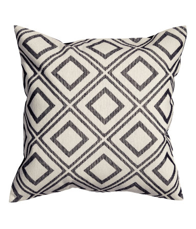 Black Jacquard-weave Cushion Cover - $12.99