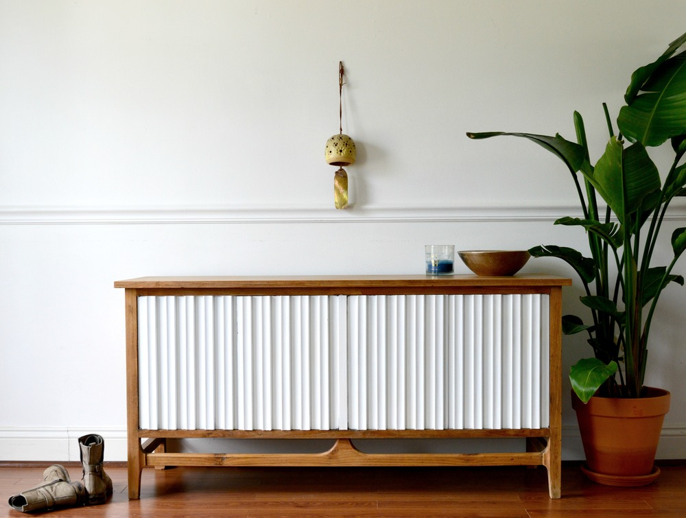MCM White and Wood Cabinet