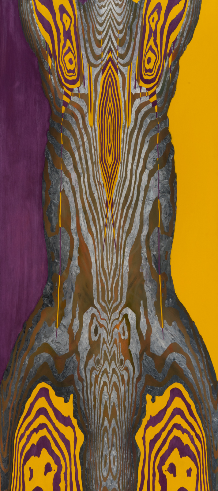 "Purple + Yellow. 1999. Oil on wood. 80"" x 36""."
