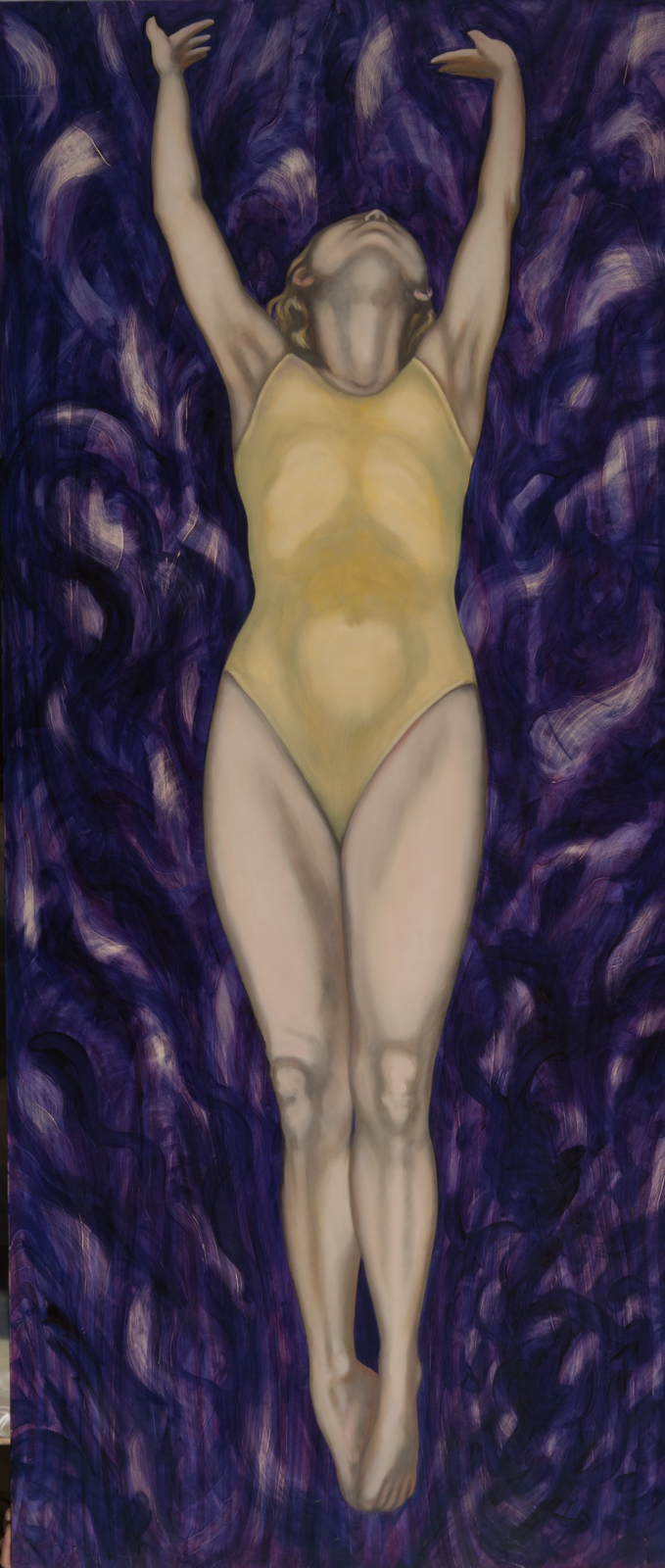 "Purple Pool. 1990. Oil on wood. 82"" x 36""."