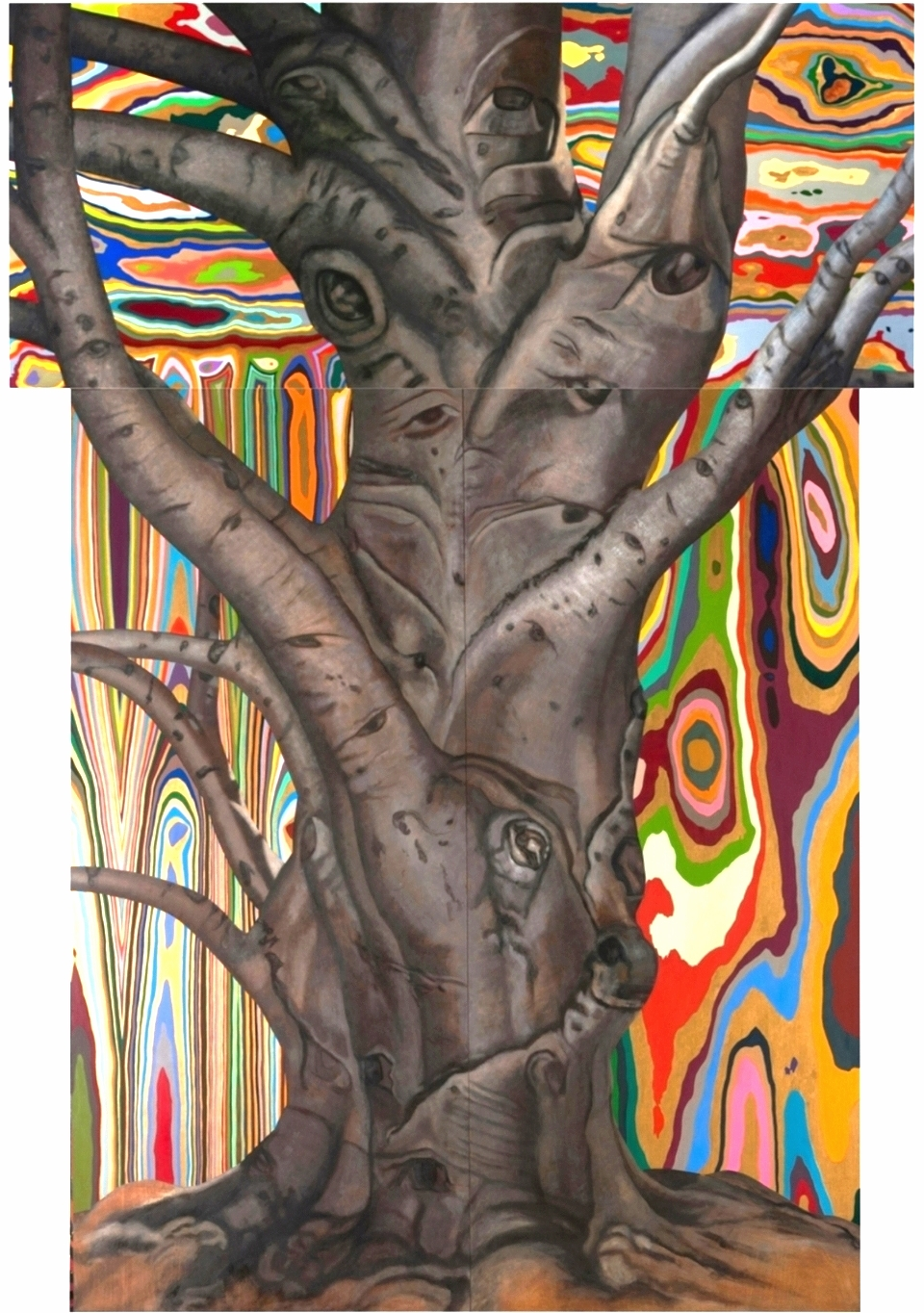 "Brahma. 1993-97. Oil on wood. 120"" x 84""."