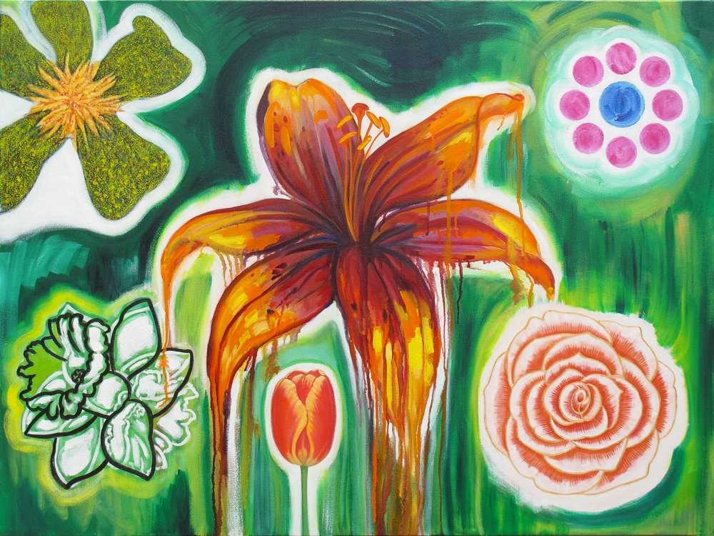 "Green Flower Arrangement. 2015. Oil on canvas. 30"" x 40"""
